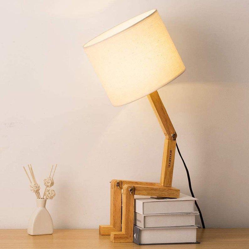 Swing Arm Desk Lamp Modern Creative Table Lamp Natural Wood Etsy In 2021 Kids Desk Lamp Desk Lamp Modern Desk Lamp