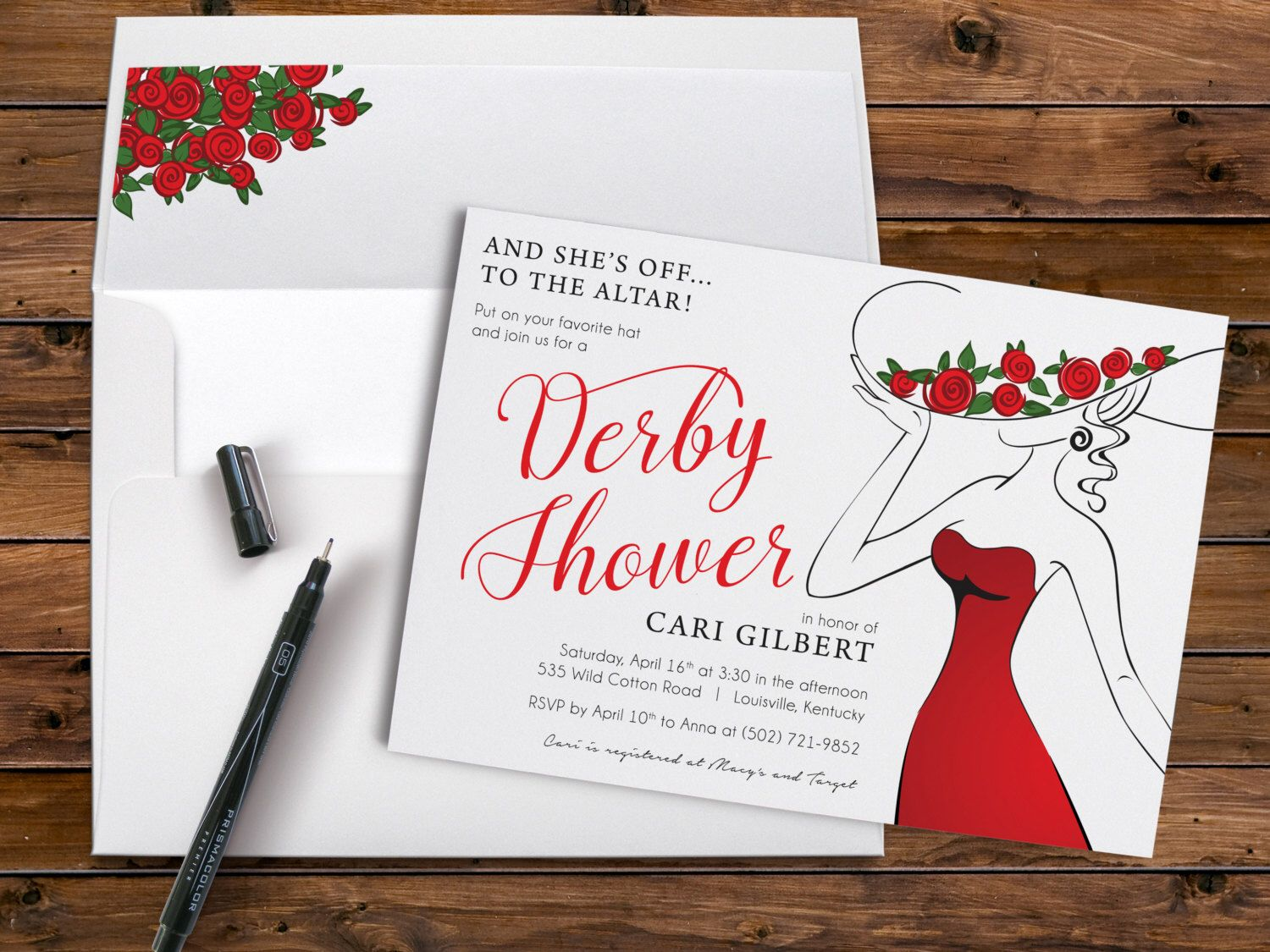 Derby Shower Invitation with Red Roses and Large Hat for a Bridal ...
