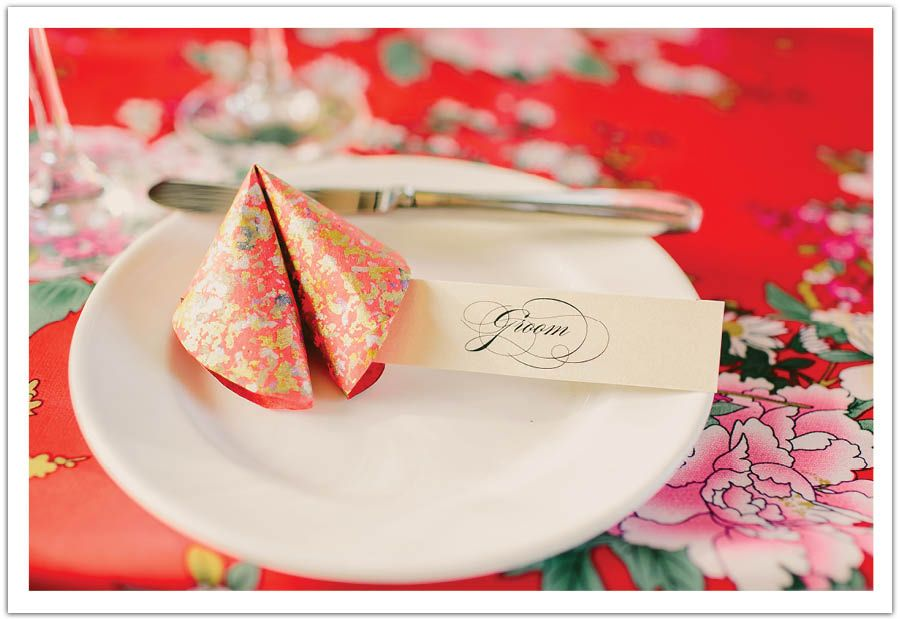 Gold Splattered Paper Fortune Cookies Served As Placecards For The Guests In This Miami Beach Chinese Wedding Designed By Alchemy Fine Events