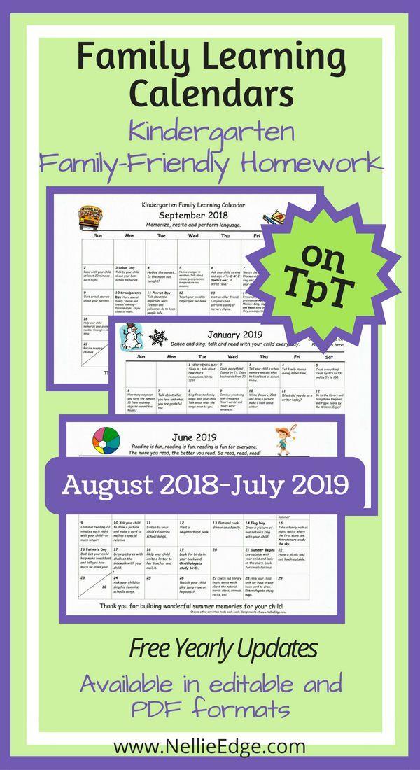 Editable Kindergarten Homework Calendar (Free Yearly Updates
