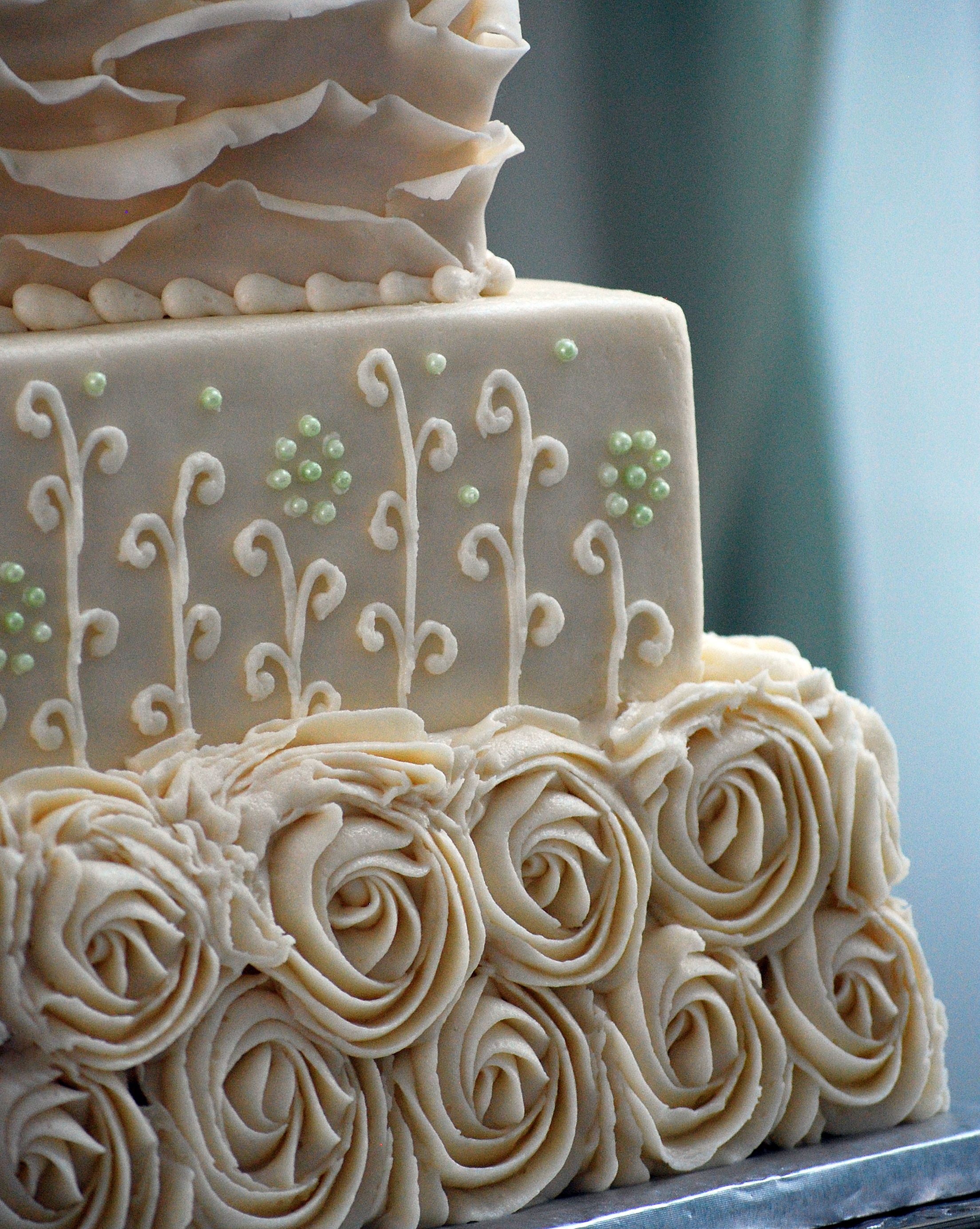 Rustic Shabby Chic Square Wedding Cake - Rosettes, Ruffles and ...