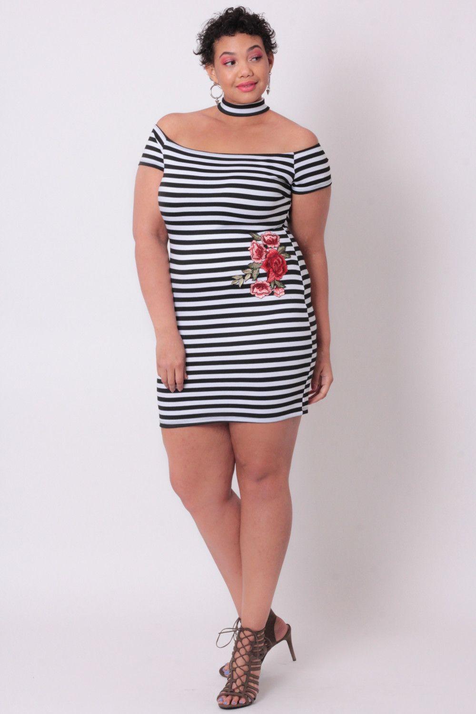 Plus Size Embroidered Stripe Dress - Black Stripe