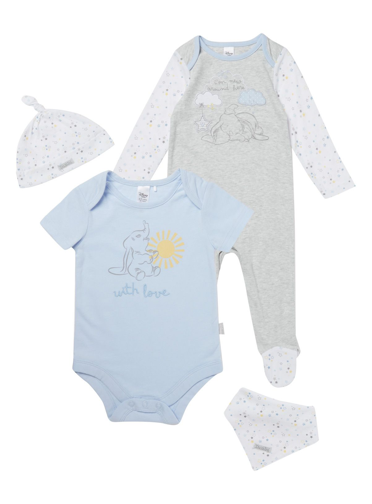 aacbb1302 Complete their first wardrobe with this sweet Dumbo set, including a  bodysuit, sleepsuit,