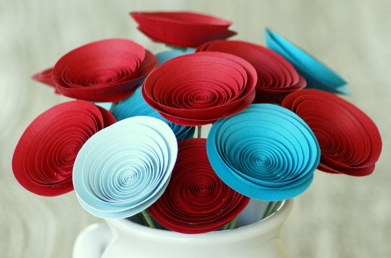 18 Red and Aqua Paper Flowers, Carnival Wedding Centerpiece, Circus Flowers. $36.00, via Etsy.