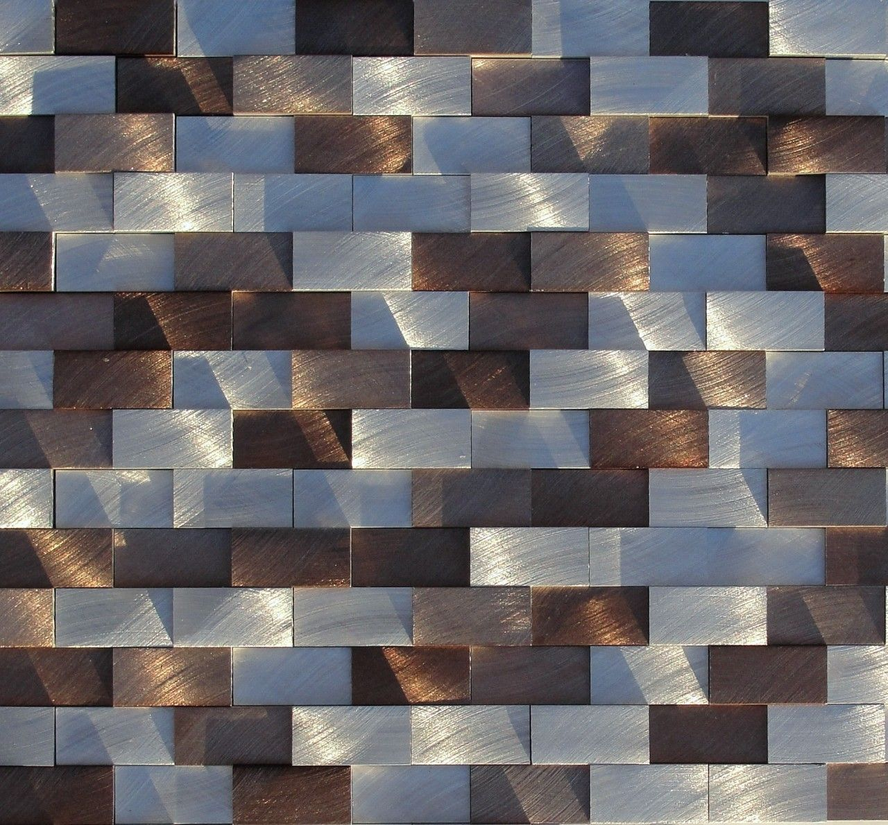 Aluminum Mosaic Tile Raised Chocolate Brick