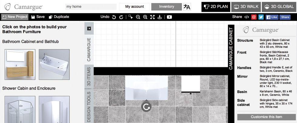 2D Floor Plan View of Space Designer 3D | Basin cabinet ...