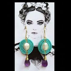 Handmade #pgaccesorios #earrings #byme #chapadeoro #amatista #perla