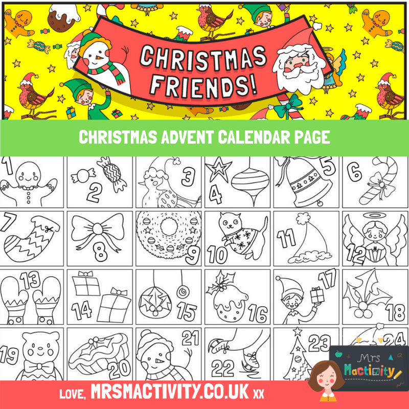 Advent Calendar Colouring Page Free christmas coloring