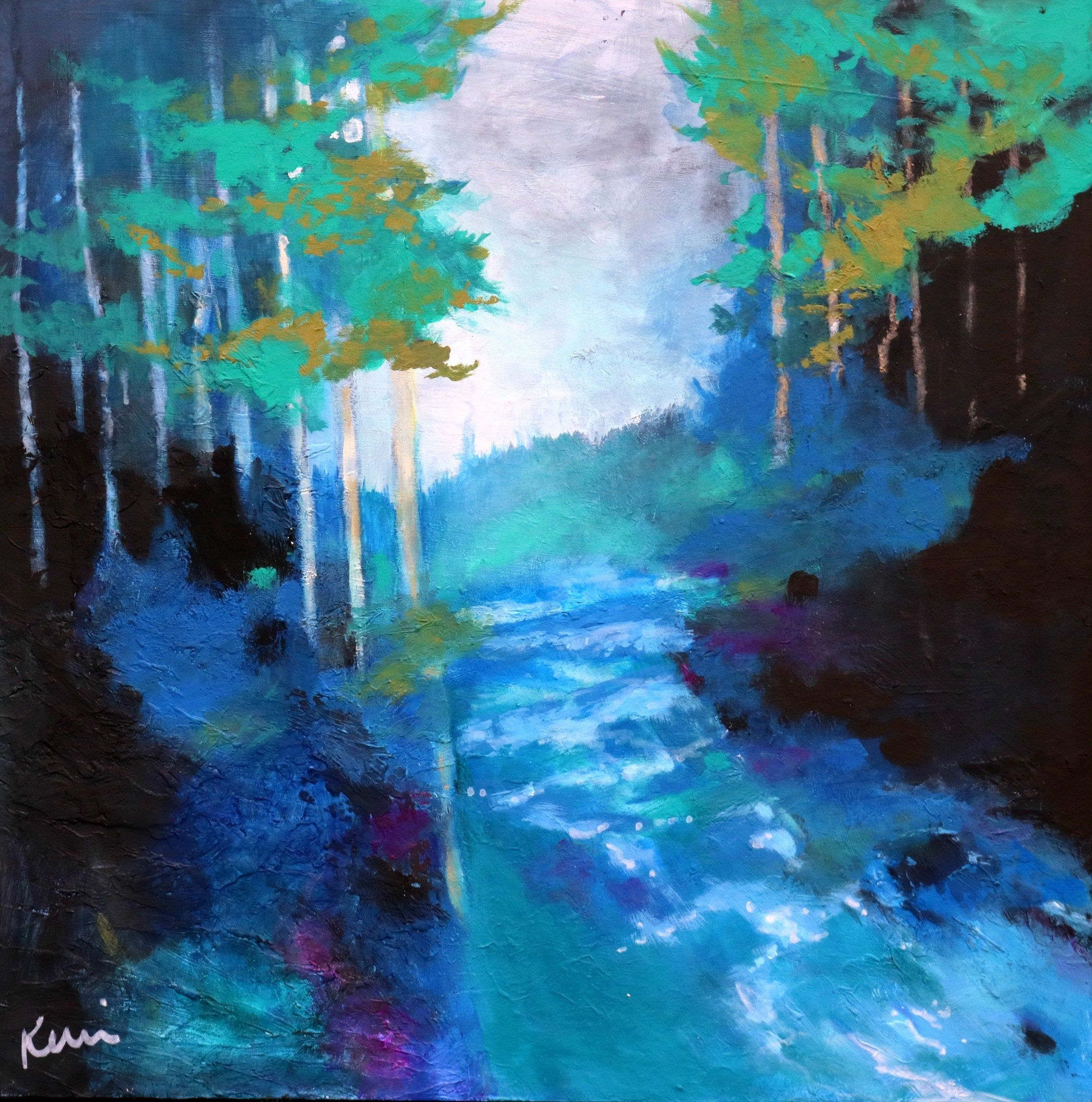 Colorful Landscape Painting With River And Trees Blue Forest Scene 20x20 Living Water Painting Art Landscape Paintings