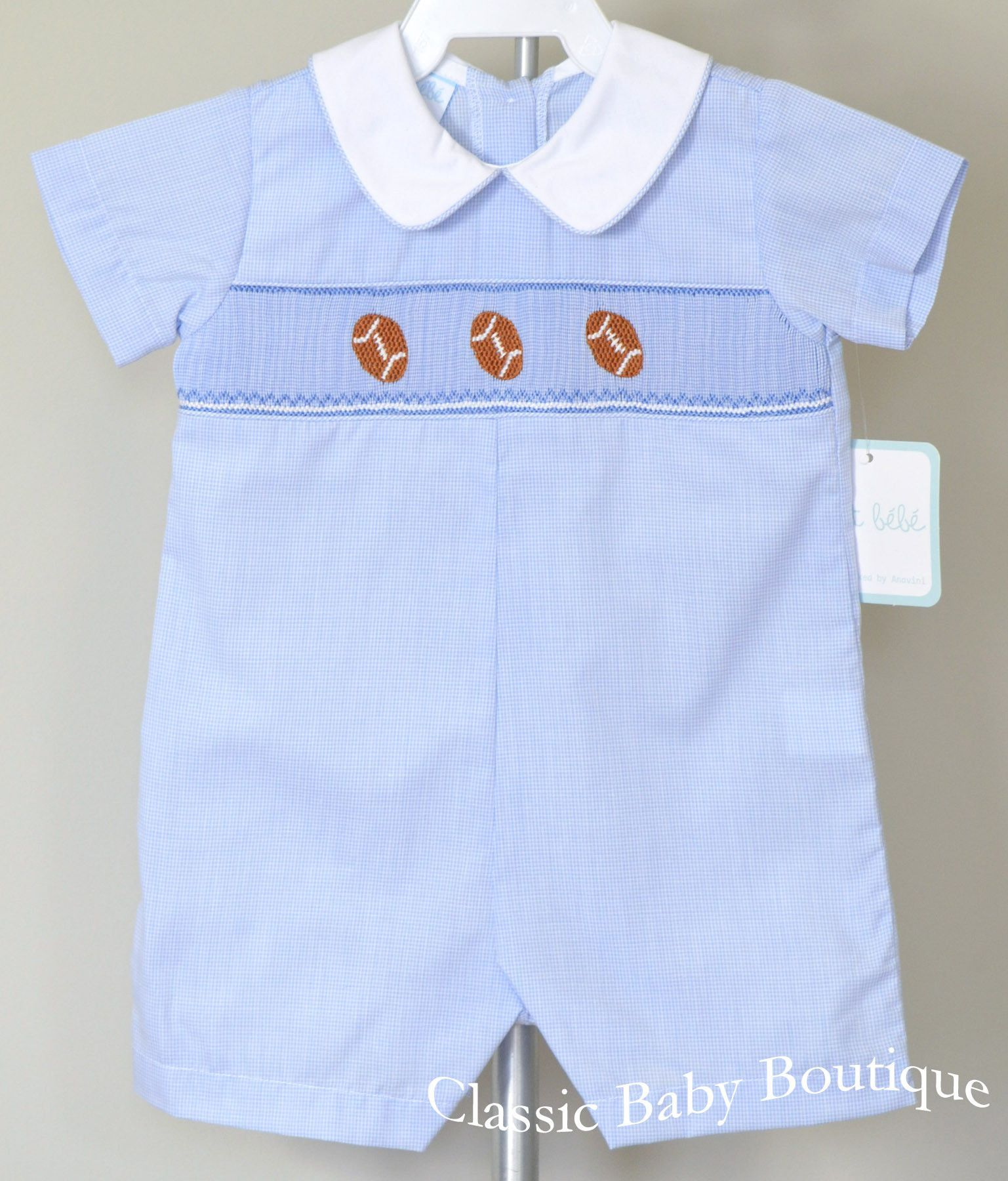 4c87db4d16e Petit Bebe Boys Blue Football Smocked Jon Jon Romper 3 6 9 M ...