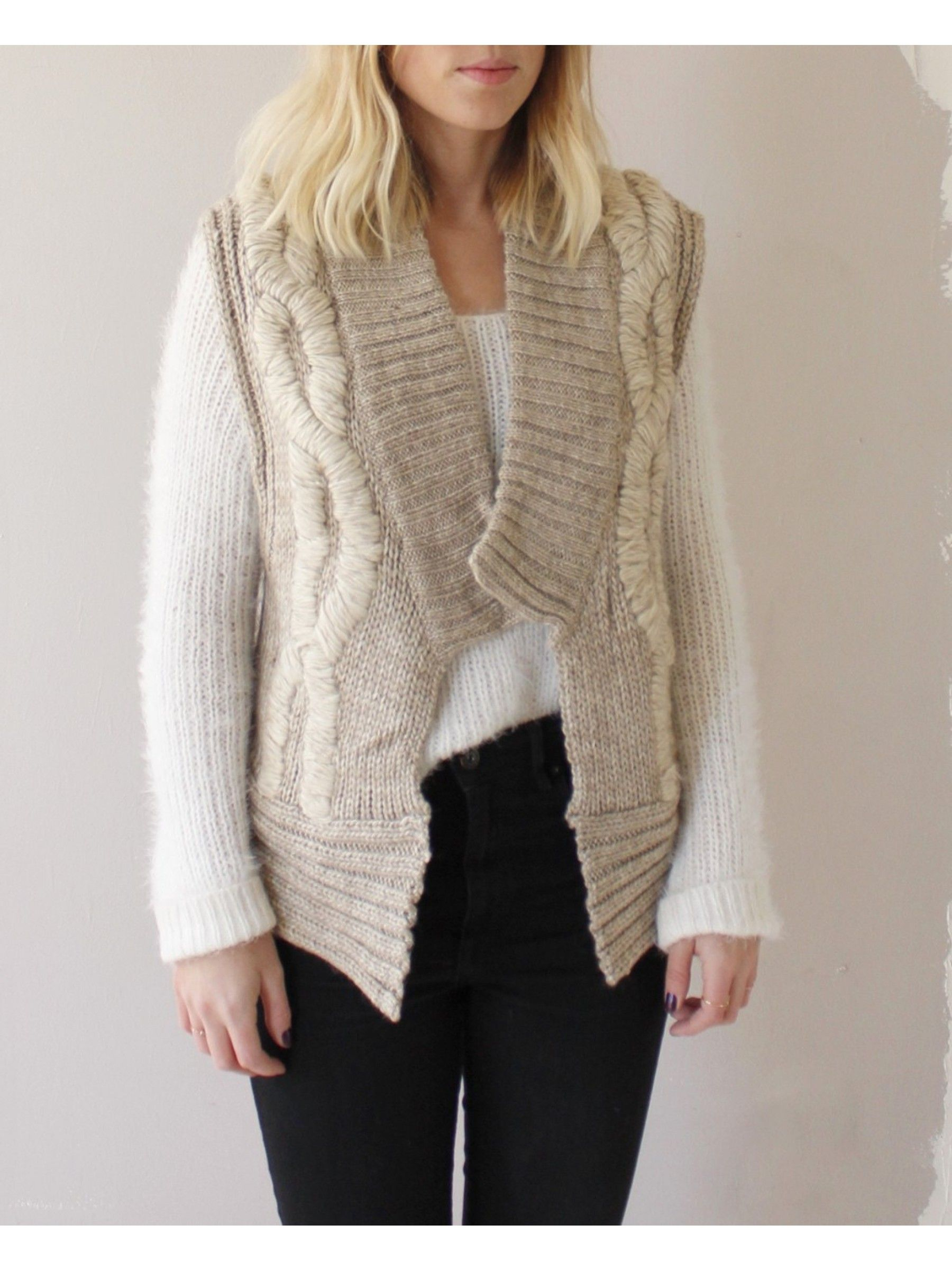 Sand Chunky Knit Sweater Vest | dear society shop | Pinterest