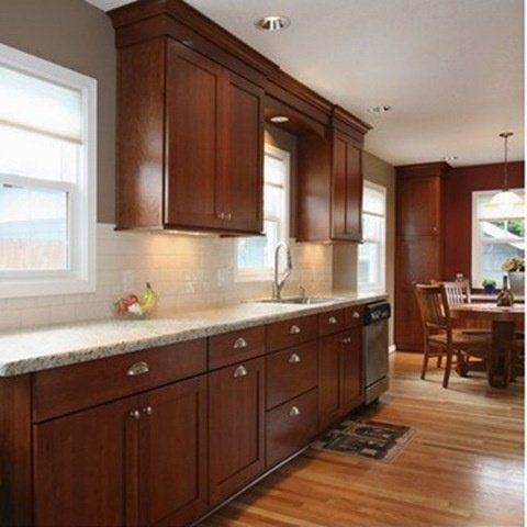 Existing Cherry Cabinets With Light Counters And Backsplash And Existing Floor Colour Cherry Wood Kitchen Cabinets Cherry Cabinets Kitchen New Kitchen Cabinets