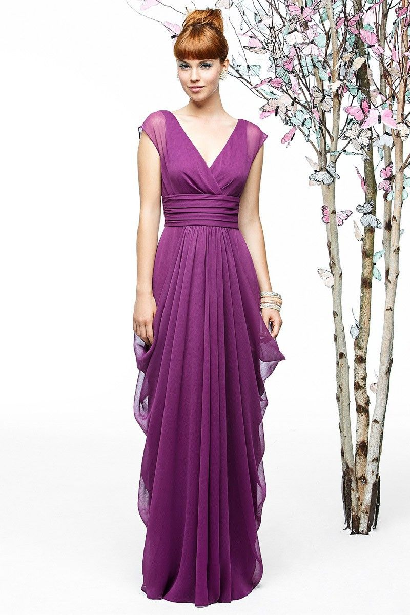 Purple Chiffon A-Line Deep V-neck Long Bridesmaid Dress | Shops ...