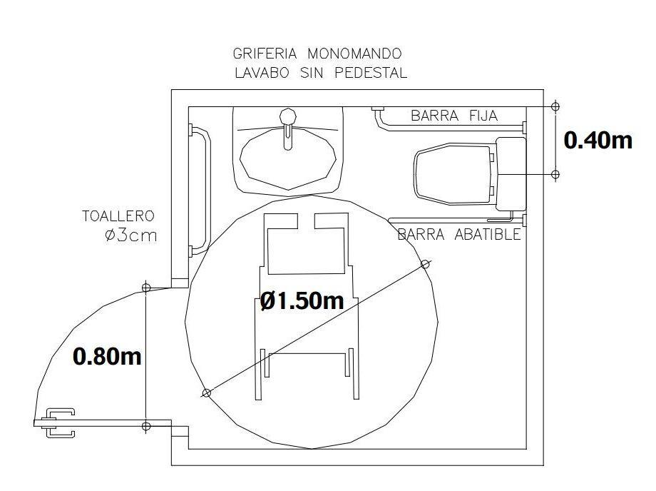 Diseno de ba o para discapacitados una circunferencia libre de obst culos de 1 50m de di metro - Puerta para discapacitados medidas ...