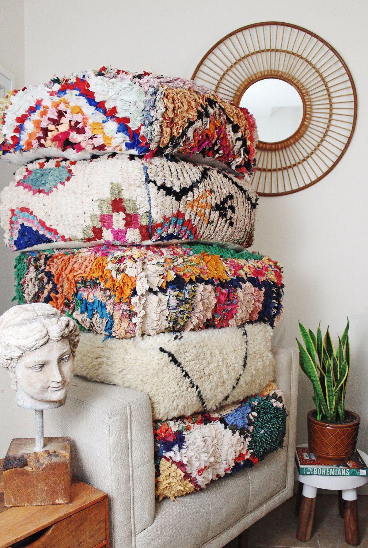Wonderful Moroccan Boucherouite Pouf, Floor Cushion, Rug Pouffe, Vintage  JR64