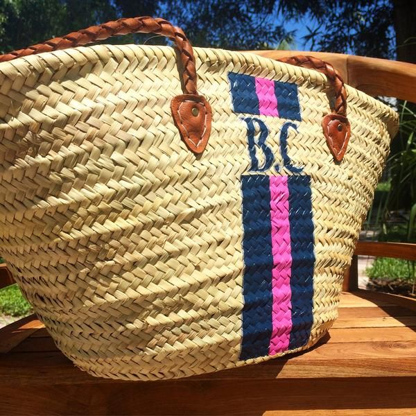 Monogrammed Straw Bag Personalized Beach Custom Initialed Tote
