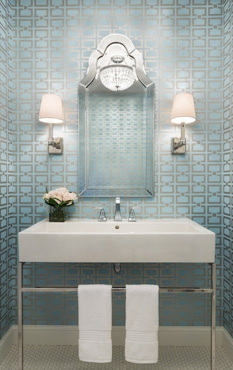 Beautiful Blue Wallpaper With Metallic Design For Dimension And Shimmer