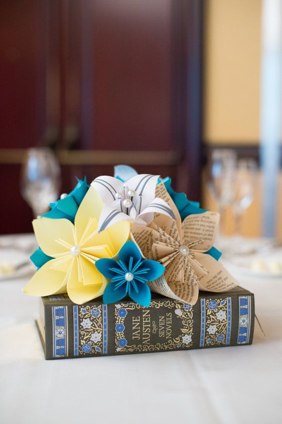 Paper Flower And Book Centerpiece Etsy Something Old Something