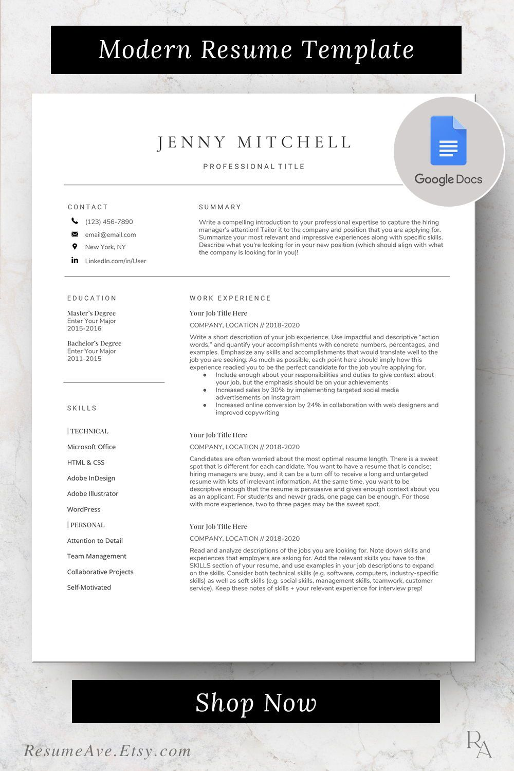 Google docs resume template with cover letter cv design