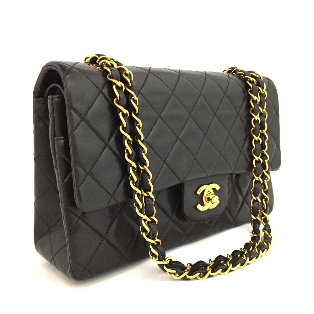 3cd3edd2e7bb8c CHANEL Double Flap 25 Quilted CC Logo Lambskin w/Chain Shoulder Bag  Black/r487 $61.0