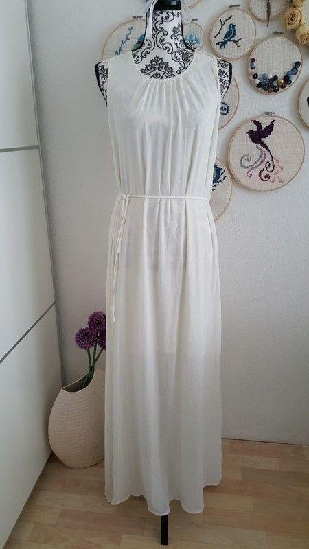 maxikleid weiß naturweiß creme langes kleid strandkleid