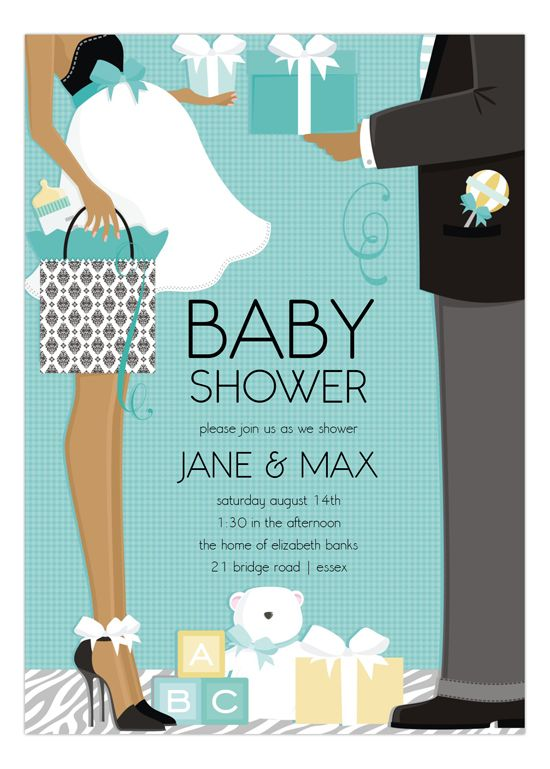 Blue African American Classic Couple Baby Shower Invitation