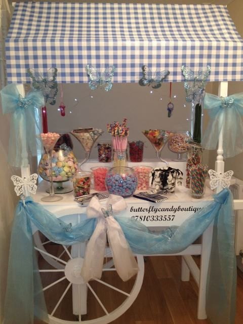 Blue and White Sweet Cart