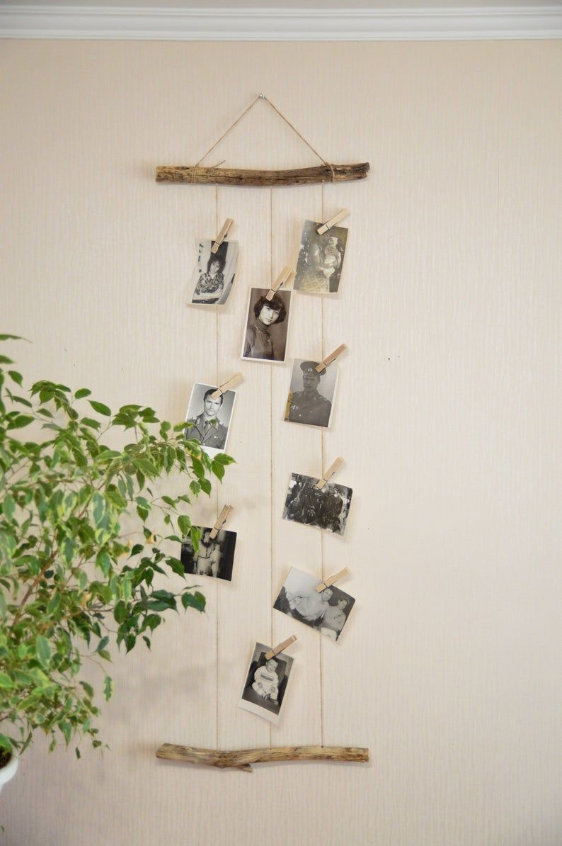 Boho photo display, driftwood wall art, bohemian bedroom wall hanging decor, driftwood wall decor, baby shower gift, nursery wall decor