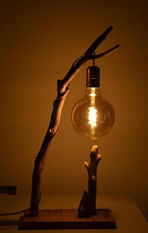 Lampada da tavolo in legno portato dal mare, abat jour con