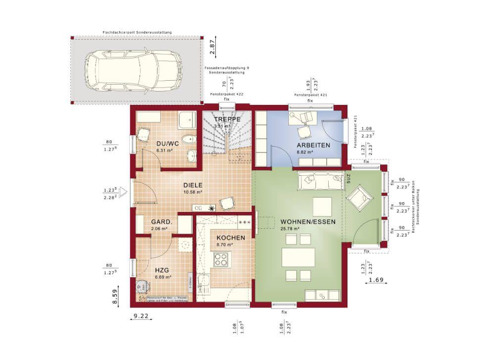 EINFAMILIENHAUS Grundriss: Fertighaus Solution134-V7 Living Haus ...