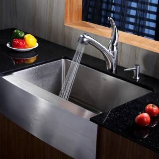 Check Out The Kraus Khf200 30 Kpf2110 Sd20 30 Farmhouse Single Bowl Stainless Steel Kitchen Sink With Kitchen Faucet And Soap Dispe Farmhouse Sink Kitchen Sink Kitchen Sink Faucets