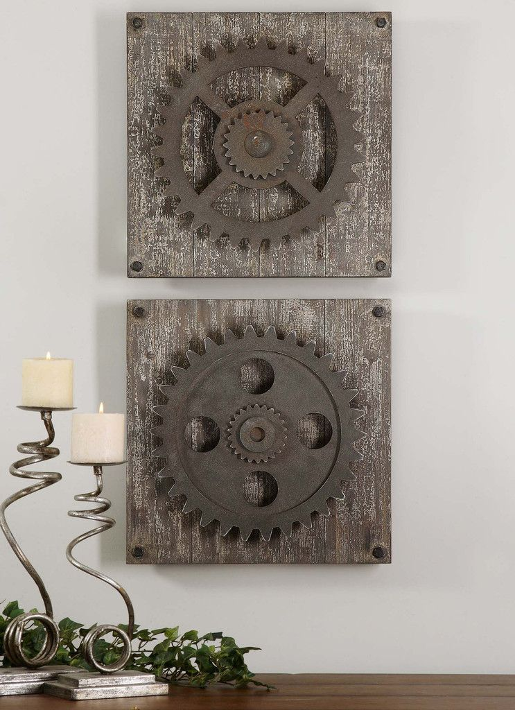 Rust Bronze Details Accented With Heavily Distressed Aged Ivory Over Rustic Wood.Dimensions (inches): 3.5D, 17W, 17H.