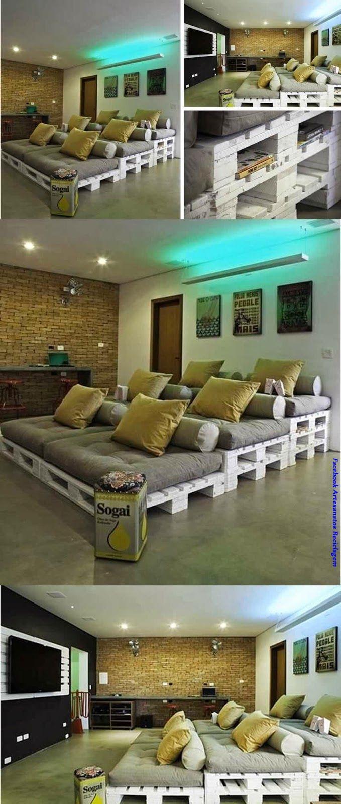 Artesanato Reciclagem Blog Sala De Cinema Em Casa Com Pallets  ~ Divisoria Barata Para Quarto E Quarto Feito De Paletes