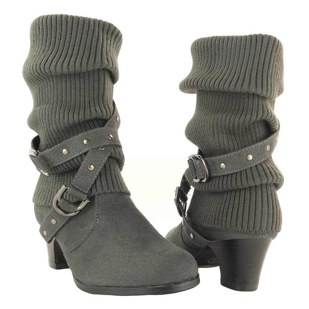 d296af8fe38 Kids Mid Calf Boots Knitted Pull Over Ankle Wrap Stud Buckle Gray ...