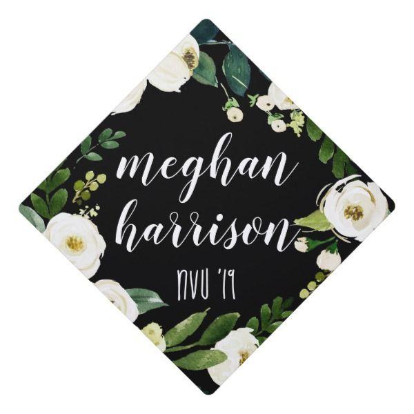 Alabaster Floral | Custom Name and Class Year Graduation Cap Topper | Zazzle.com