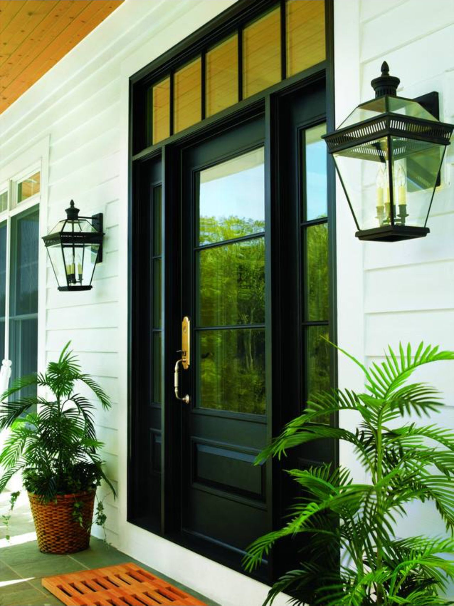 Nice Simple Entry Door Unit With Sidelights Transom Above Front Door Design Exterior Doors House Exterior