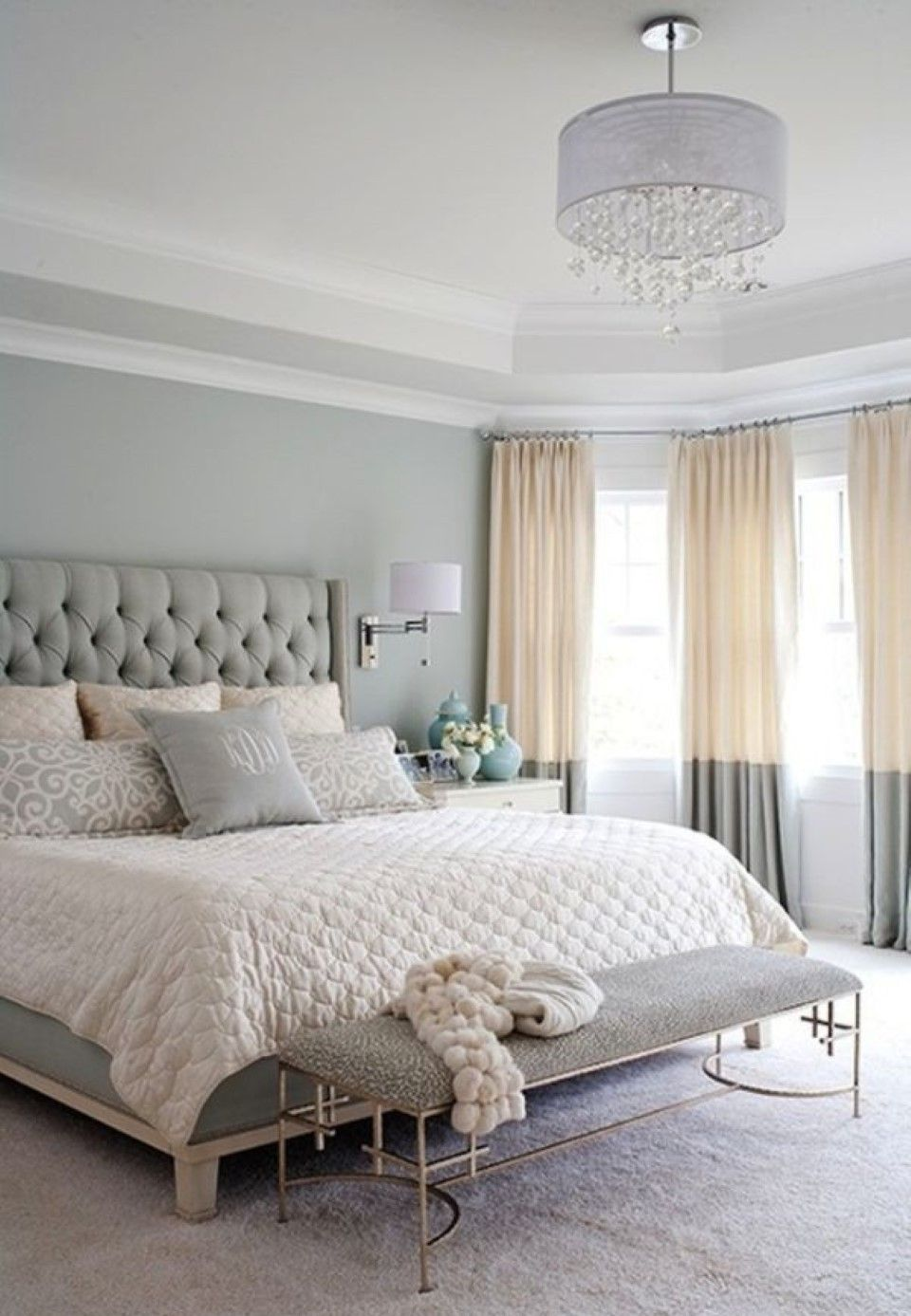 Awesome Two Tone Gray Cream Window Curtains Paired With White Bedding Set Also Tall Tufted Headboard Idea