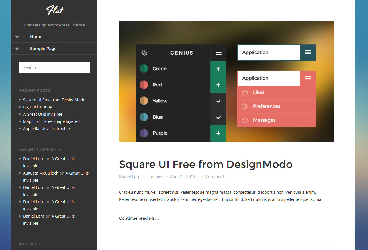 Free Flat Design WordPress Theme for Personal Blog | Flat design ...