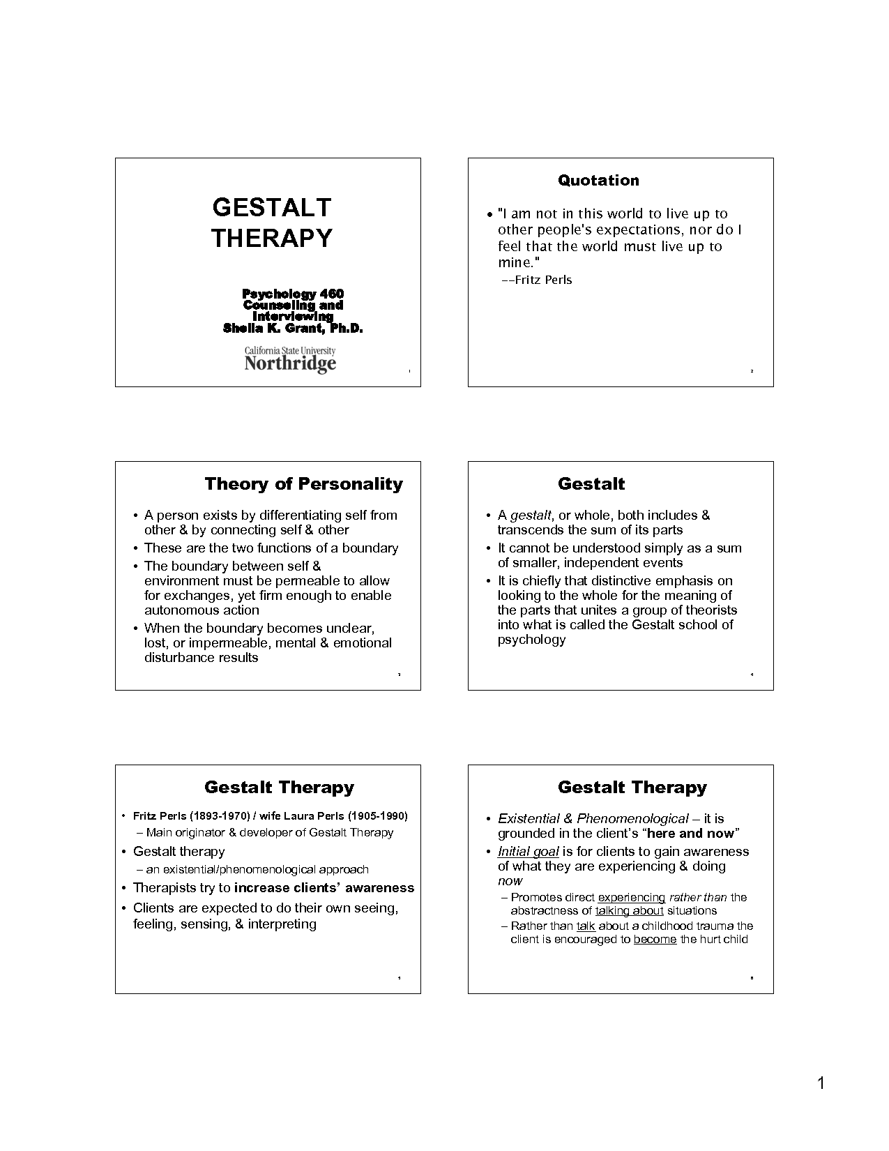 Gestalt Therapy in Psychological Practice