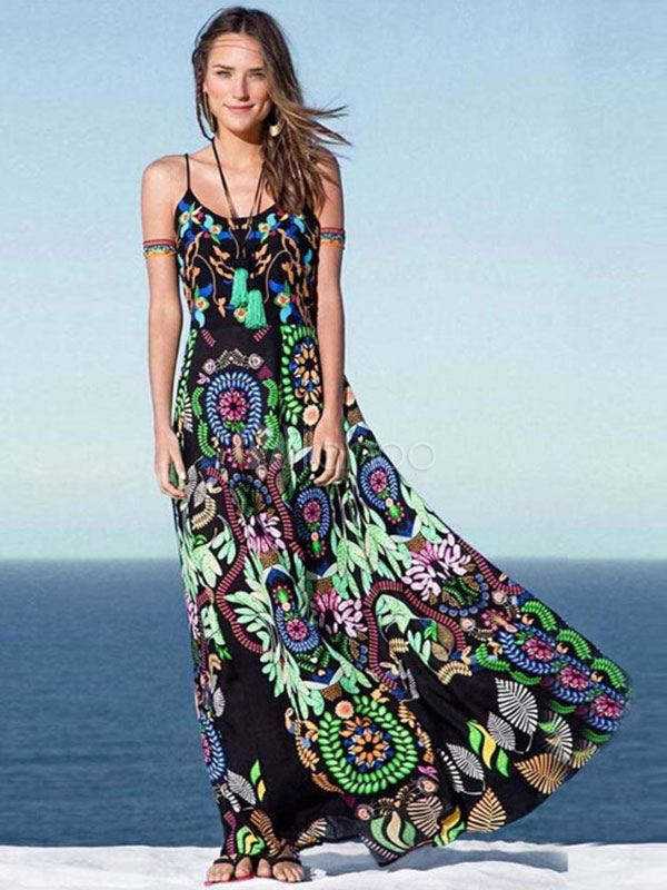 Boho kleid Sommer Maxikleid mit Blumen Muster langes Sommerkleid in ...