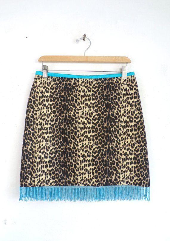 d343fa27a610 90s Beaded Cheetah Skirt Leopard Mini Skirt Cache Animal Print Micro Mini  Skirt with Blue Silk Satin