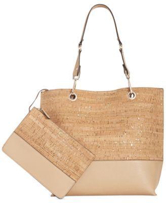 02d3411f0ae7 Calvin Klein Cork Tote with Pouch - Handbags & Accessories - Macy's ...