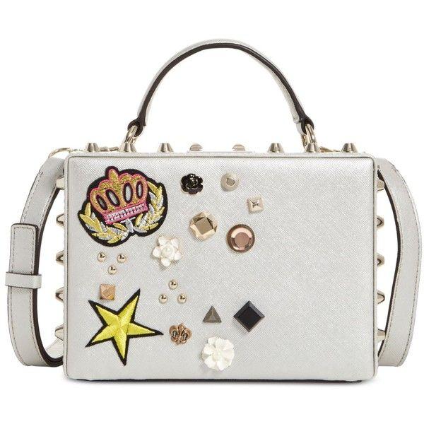 Guess Hanson Trunk Bag ($98) ❤ liked on Polyvore featuring bags, handbags, silver, mini purse, guess bags, white mini bag, punk handbags and mini bag