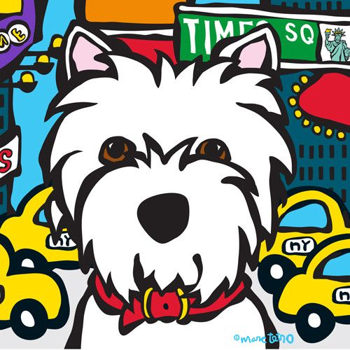 NYC Westie in Times Square Print