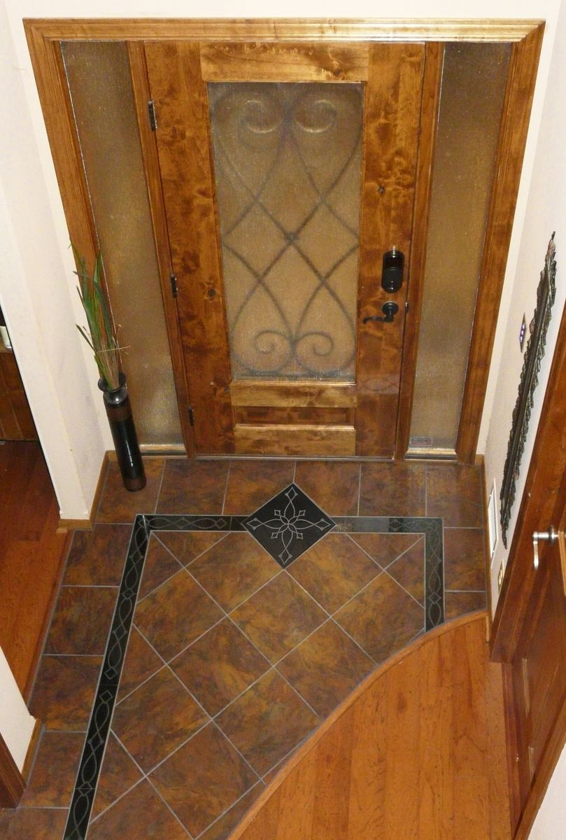 Foyer Tile Design Ideas flagstone tile floor Custom Entryway Grand Foyer Floor Tile Medallion And Border Laser Etched Absolute Black Granite
