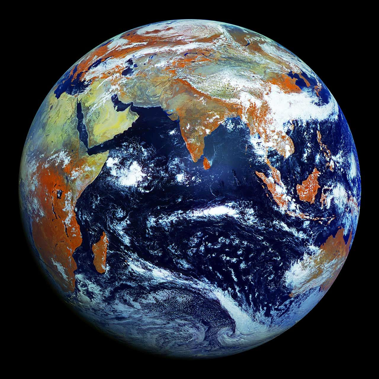 """Photo of Earth, taken by the russian weather satellite """"Electro-L"""", 36,000 kilometers above the equator."""