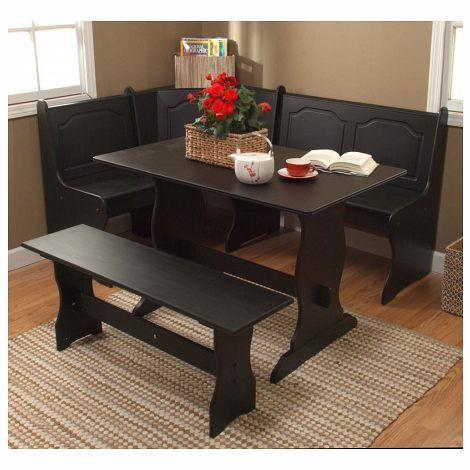 3 pc Nook Set in BlackFeatures: Material: MDFNook Corner, Table and BenchColor: BlackCare Instruction: Wipe with Mild Furniture CleanserAssembly ...