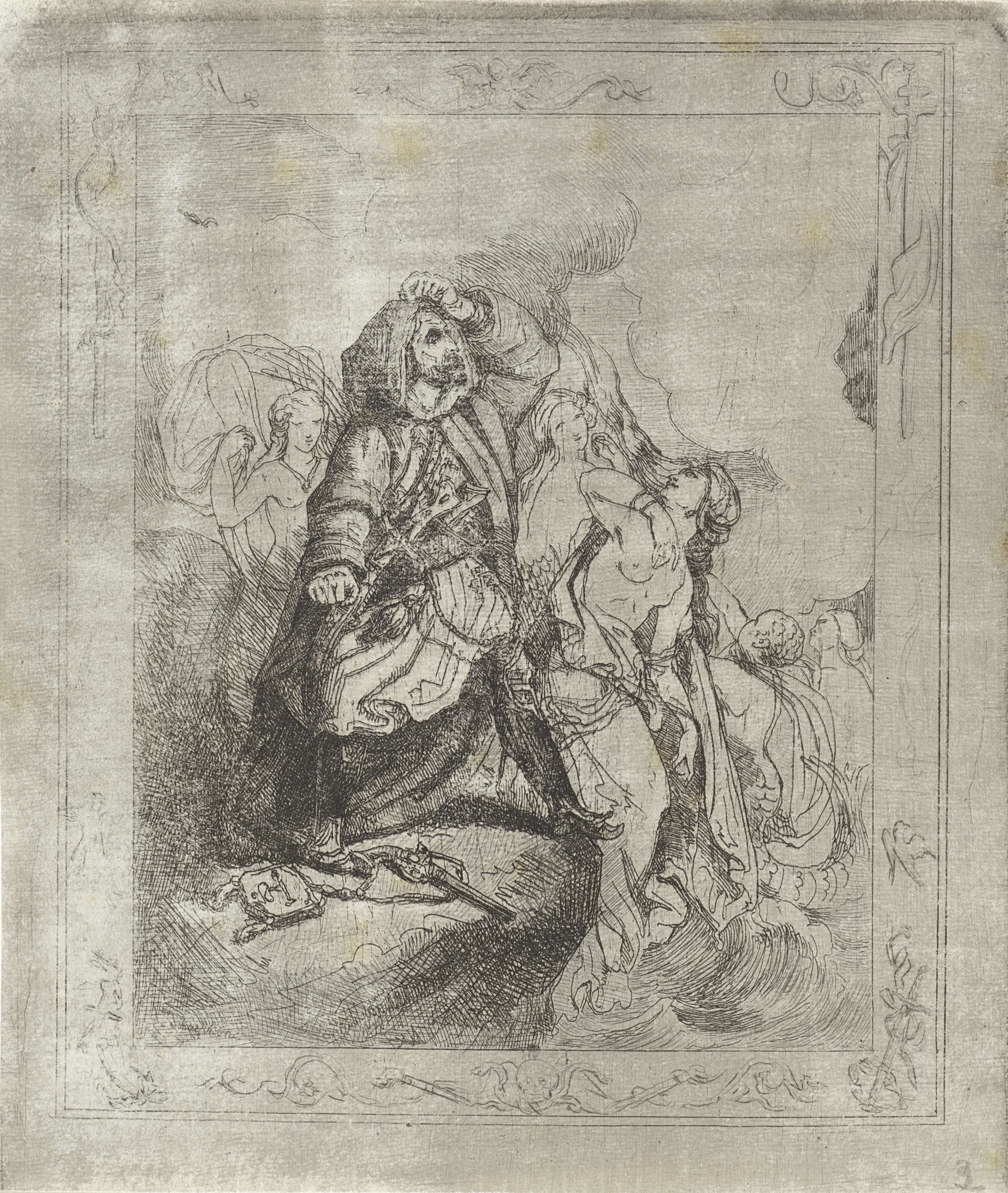 Theodoor Schaepkens | Griekse vrouwen en een Turkse strijder, Theodoor Schaepkens, 1825 - 1883 |