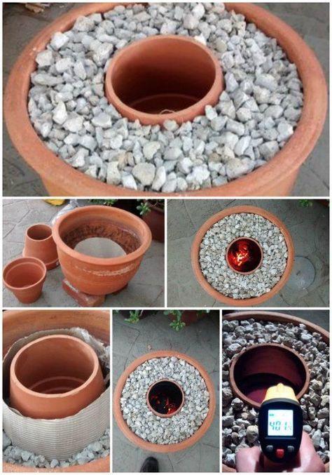 Terracotta Flower Pot Turned Into A Tandoori Oven Selbstgemachte Tongefasse Teelicht Heizung Diy Sachen