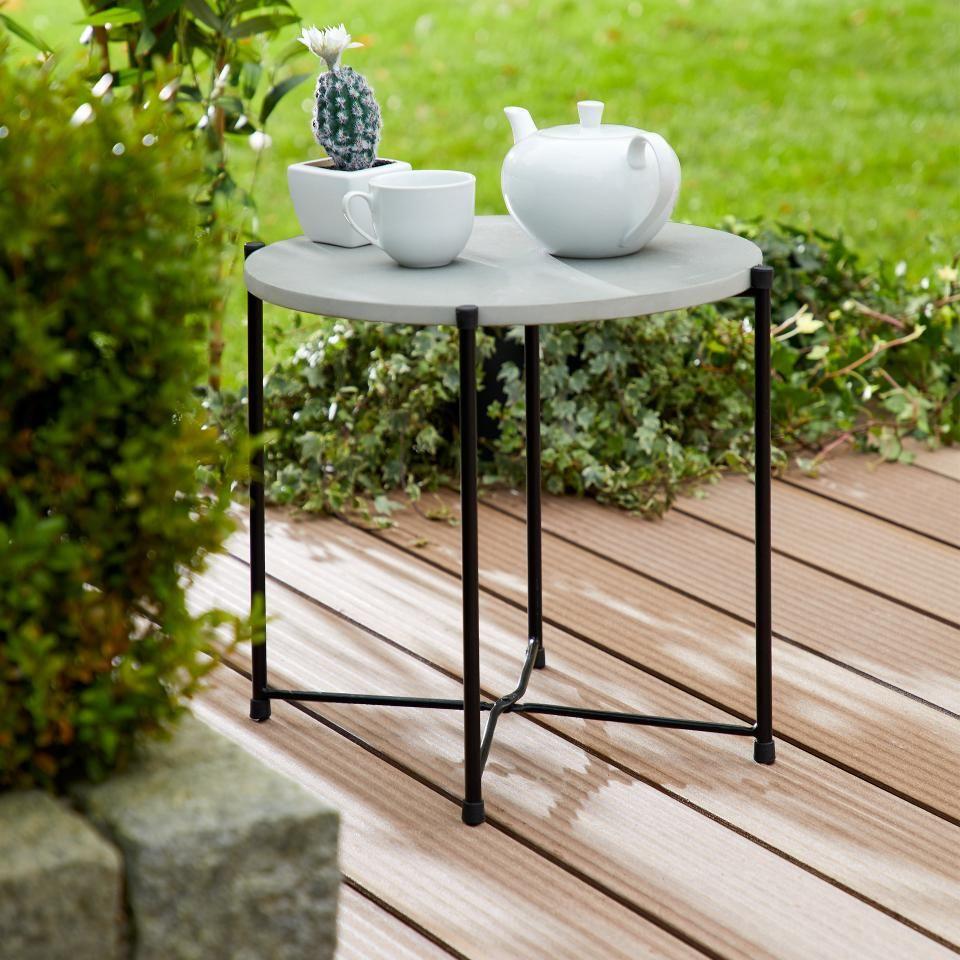 Beistelltisch Stanford Rund Grau Schwarz Preiswert Danisches Bettenlager Beistelltisch Beistelltisch Garten Tisch